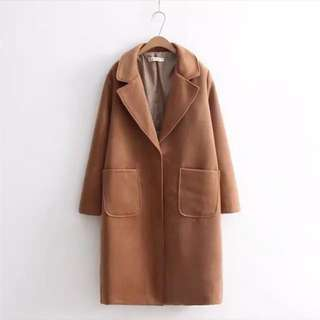 焦糖色駝色韓版大衣外套(大尺碼)✅