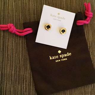 BN Authentic Kate Spade brand Studded Gold Earrings with Black Spade. Great for Christmas