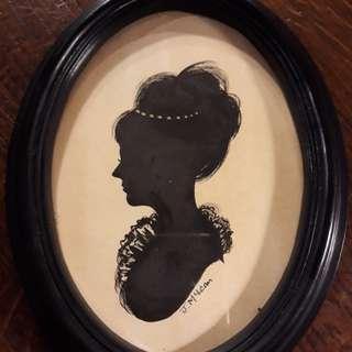法國古董女人畫像