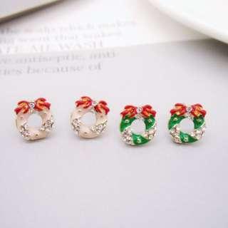 🚚 抗敏感鋼針聖誕花圈甜美耳環