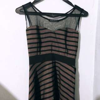 Brown black stripe dress