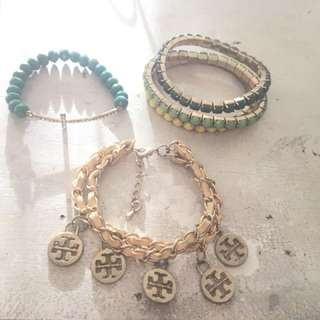 5pcs. Assorted Green and Yellow bracelets