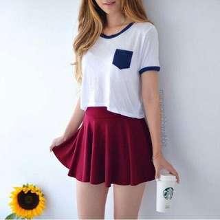 Maroon Scallop Hem Skirt