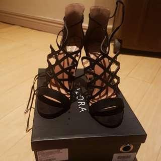 Zalora black strappy heels