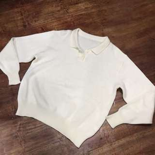Cream knitted collared blouse