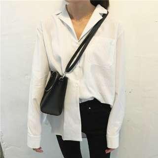 🚚 正韓 直條紋  睡衣式 白襯衫 前短後長
