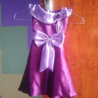 Dress satin gaun anak