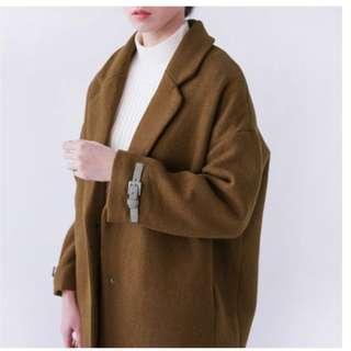 🚚 寬鬆小扣毛呢大衣