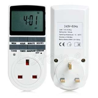 Digital Electronic UK Plug-in Programmable 12/24 Hour Timer Switch Socket 7Day