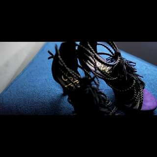 So Fab! Tassel Sandals Black & Violet