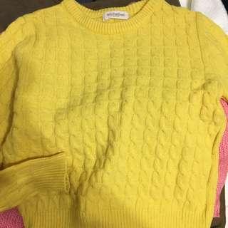 正韓 黃色麻花毛衣