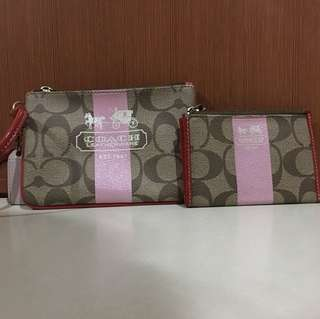 Used Coach Wristlet (comes with free matching Coach card/coin holder)