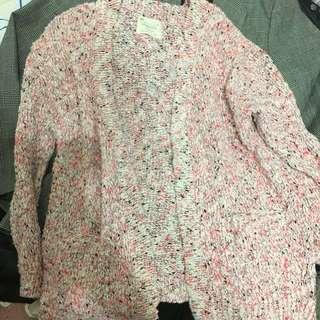 Zara 螢光粉針織外套