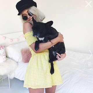 Showpo Checkered Yellow Playsuit