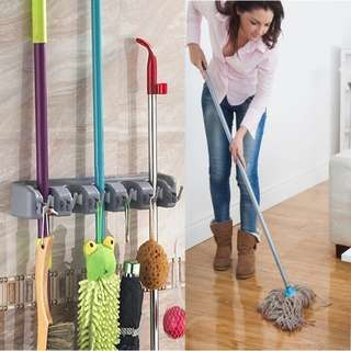 High Quality Kitchen Bathroom Wall Mounted Mop Brush Broom Holder Storage Rack Hook