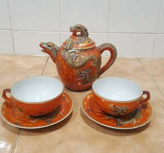 Antique Fuji China dragon tea set