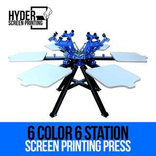 Silkscreen Printing - 6 Color 6 Station Screen Printing Press