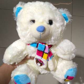 Sweet Teddy Bear (Beige) with Baby Blue Scarf