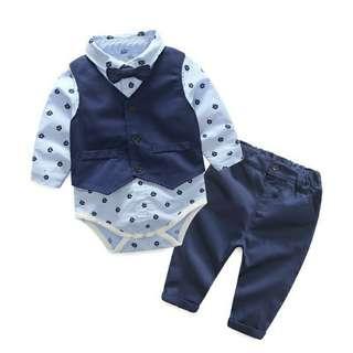 Baby boy 3 pcs  suit set vest + tie romper plus pant ( pre-order)