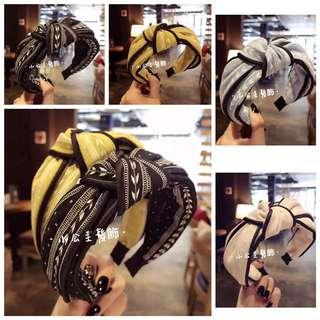 🚚 韓版 簡約樹葉條紋扭結髮箍