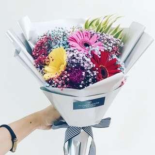 3s Gerbera baby's breath bouquet