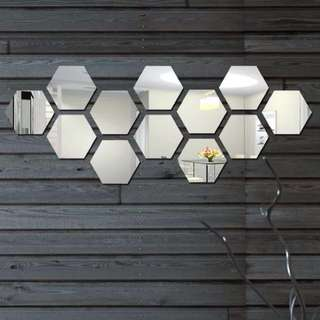 Hexagon Acrylic Mirror wall decal sticker