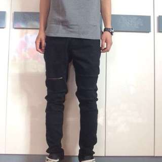 SLP 刀割破壞牛仔褲 彈性修身窄管 非Adidas Nike Uniqlo  Armani Zara supreme