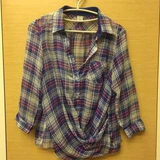 🚚 透明彩色格紋襯衫 外罩式 薄紗材質