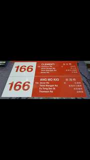 SBS TRANSIT - Service 166 Side Destination Sign