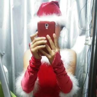 Christmas dress with hat & gloves
