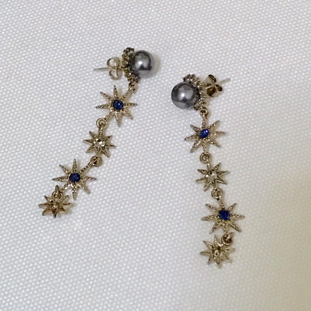 耳環-純綴式金銅星星耳環