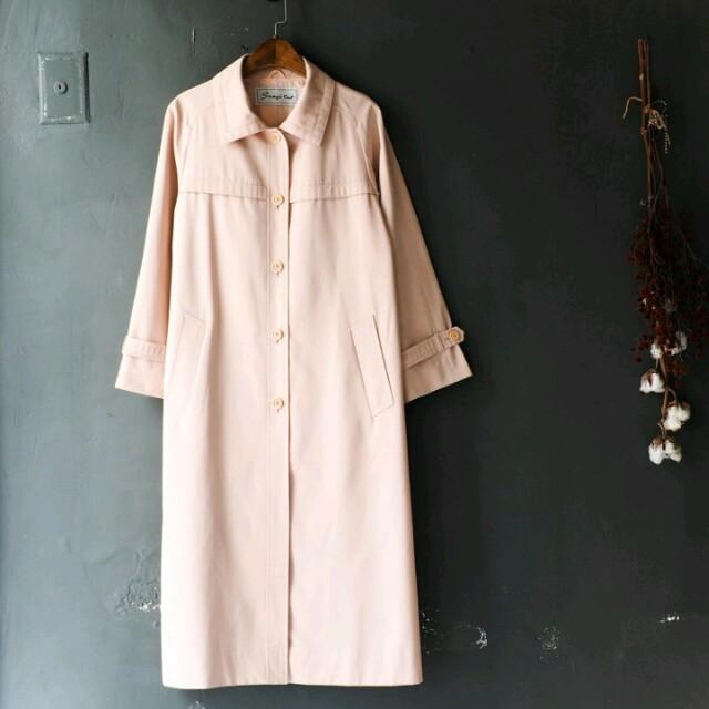 河山水 日本古著 vintage 粉紅薄料風衣外套