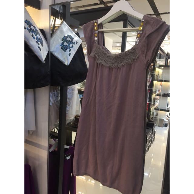 棉質紫色飾品上衣