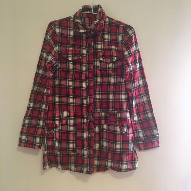 長版紅格子襯衫