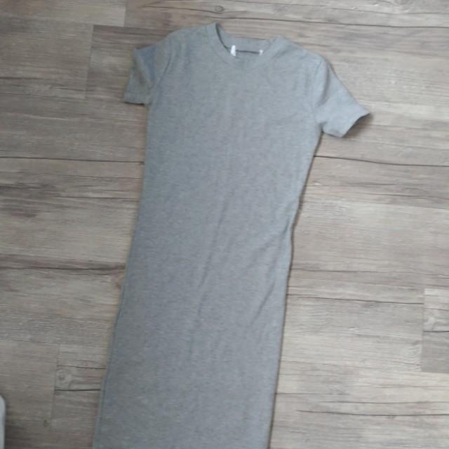 棉質剪標長版灰色
