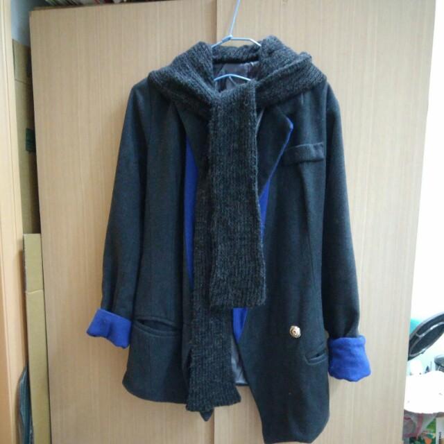 灰色西裝外套(帽子可拆)