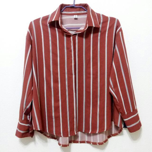 直條紋磚紅復古寬鬆襯衫外套
