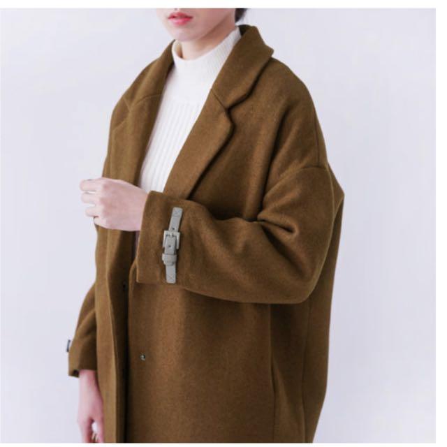 寬鬆小扣毛呢大衣