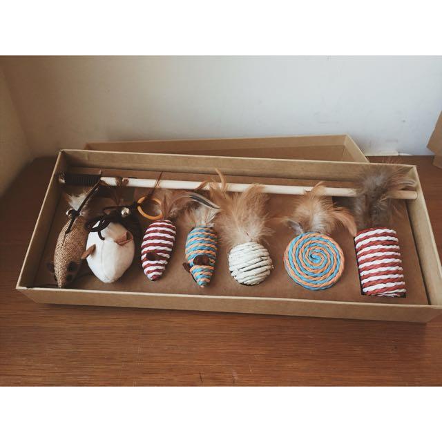 高質感逗猫棒組合 7件組 猫玩具 逗貓棒禮盒