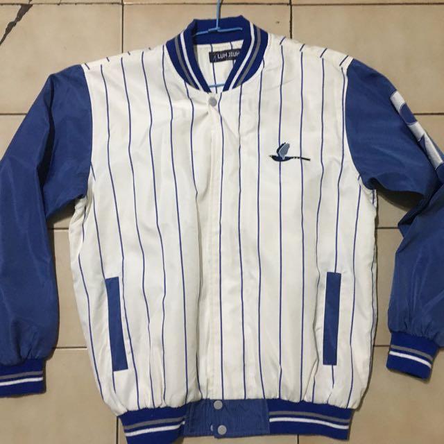 藍色 精緻鳥刺繡 條紋古著棒球外套