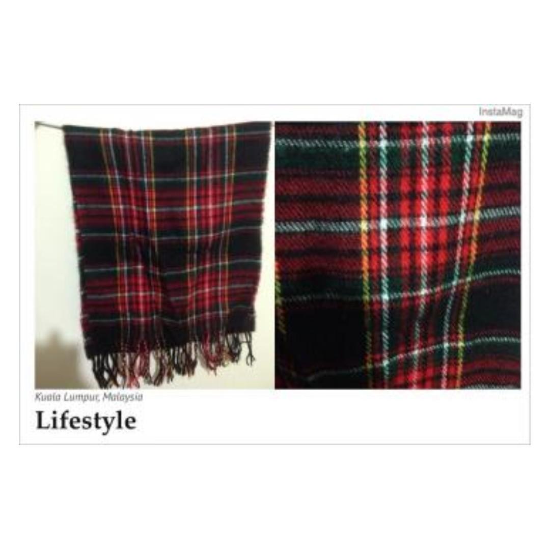 經典格紋配色保暖圍巾 黑紅黃格子 #舊愛換新歡