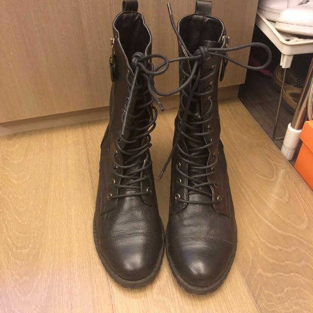 正韓 短靴 軍靴 牛皮 23號 靴子