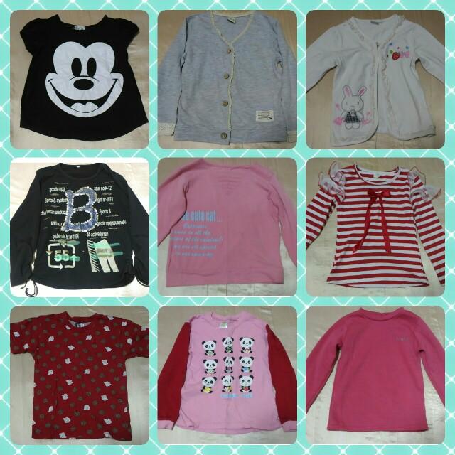 🎈買5送1 女孩童裝 上衣 薄款 長袖 短袖 條紋 蝴蝶結 熊貓 米奇 小外套