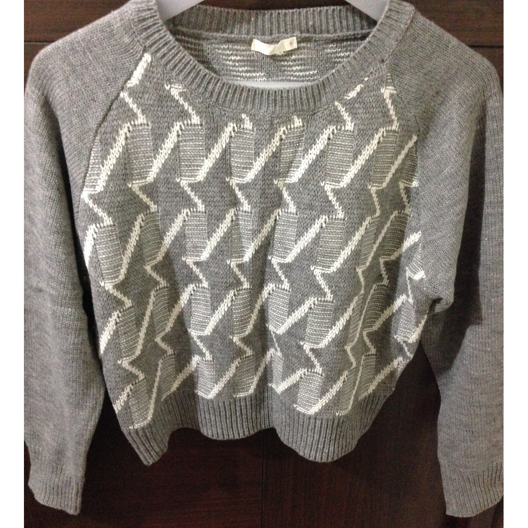 日本購入 日貨 Gu 短版灰色閃電圖騰編織長袖毛衣 (uniqlo mumu 1025 rika bin)