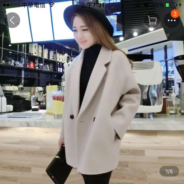 韓版小個子厚實保暖短大衣 質感好 S 氣質粉紫色藕色 可議