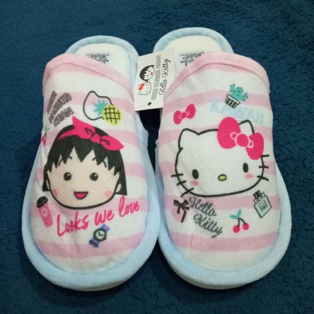 全新 kitty×小丸子聯名 室內粉嫩溫暖拖鞋