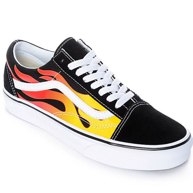 🔥 UNISEX THRASHER X VANS OLD SKOOL FLAME BLACK & WHITE 🔥