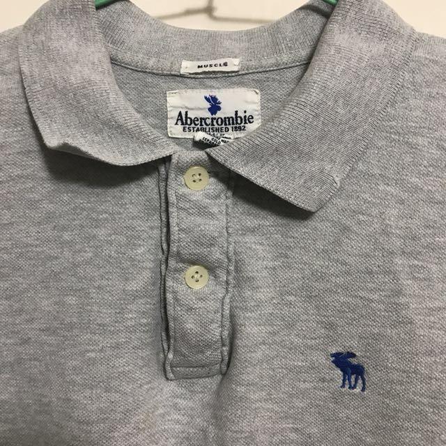 Abercrombie&Fitch * AF 灰色電繡大麋鹿POLO衫(專櫃正品)
