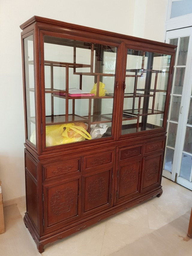 Antique glass display cabinet, Furniture, Home Decor, Antiques on Carousell - Antique Glass Display Cabinet, Furniture, Home Decor, Antiques On