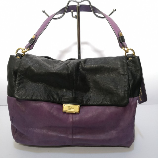 Auth Salad Two-Way Black and Purple Leather Shoulder Bag